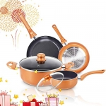 FRUITEAM 6pcs Non-Stick Kitchen Cookware Set, Copper Pots and Pans Set