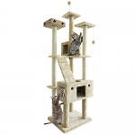 Fur Haven Tiger Tough Double Decker Playground Cat House Furniture Tree, Cream, Floor-to-Ceiling