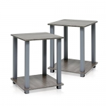 Furinno Simplistic End Table, French Oak Grey, Set of 2