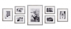 Gallery Perfect Decorative Art Prints & Hanging Template 7 Piece Greywash Photo Frame Wall Gallery Kit