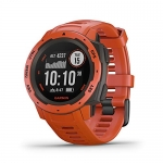 Garmin Instinct, Rugged Outdoor Watch with GPS,  Flame Red