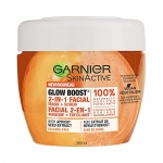 Garnier Skinactive Glow Boost 2-in-1 Facial Mask + Scrub Mask + Scrub With Apricot Seed Extract, Silicone-free, 200ml