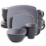 Gibson Home Soho Lounge Square 16-Piece Dinnerware Set, Grey