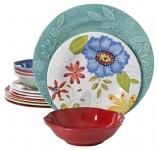 Gibson Studio 12 Piece Flora Melamine Dinnerware Set