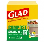 Glad 100% Compostable Bags, 10L, 44 Ct