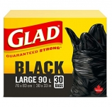 Glad Black Garbage Bags – Large 90 Litres- 30 Trash Bags