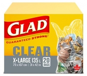 Glad Clear Garbage Bags – Extra-Large 135 Litres – 20ct