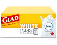 Glad White Garbage Bags – Tall 45 Litres – Febreze Fresh Clean Scent, 30 Trash Bags