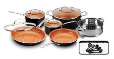 Gotham Steel 15-Piece Titanium & Ceramic Nonstick Copper Frying Pan and Cookware Set