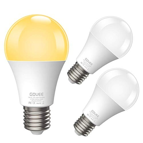 Govee Dusk to Dawn Light Bulb, 7W Smart Sensor Bulb with Auto on/Off (Soft White, 3 Pack)