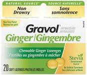Gravol Ginger Chewable Lozenges, 20 count