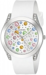 GUESS Silver-Tone + White Stain Resistant Silicone Multi-Colored Crystal Watch