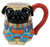 Hand-Painted Earthenware Pugly Pug Sweater Mug