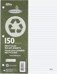 Hilroy Recycled Refill Paper, 8-3/8 X 10-7/8 Inches, 3-hole Punched, College Ruled, White, 150-count