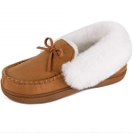 HomeIdeas Women's Faux Fur Lined Suede Slippers