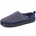 HomeTop Men's Cotton Knit Terry Lined Slippers with Memory Foam