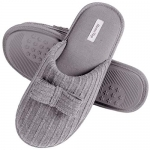 HomeTop Womens Comfy Knit Memory Foam Slipper with Indoor Outdoor Anti-Skid Soft Rubber Sole