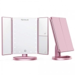 Homever Makeup Mirror Trifold 21 LED Light Vanity Mirror, Rose Gold