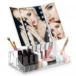 Homever Makeup Mirror Trifold 21 LED Light Vanity Mirror & Organizer, White