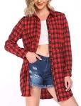 Hotouch Womens Flannel Plaid Casual Boyfriend Button Down Shirts