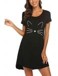 Hotouch Womens Cotton Night Shirt, Black Cat Ears