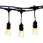 Hyperikon Outdoor String Lights, 48ft Patio Lights with 15 Dropped Sockets