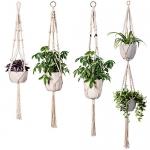 INDRESSME Macrame Plant Hanger Indoor – 4 Pack