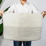 INDRESSME XXXLarge Cotton Rope Basket 21.7″ x 21.7″ x 13.8″