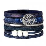 ISHOW Tree of Life Multilayer Leather Wrap Bracelets, Blue