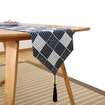 Japanese Style Printed Pattern Flax Table Runner (lattice,13*71″)