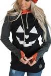 Karlywindow Womens Halloween Pumpkin Face Long Sleeve Slouchy Sweatshirt