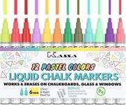 Kassa Liquid Chalk Markers for Blackboards (12 Pastel Colors)