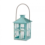 Kate Aspen Vintage Blue Distressed Large Lantern Candle Holder