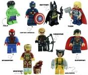 Super Heroes Lego Figures 9 Set Mini Figures Marvel and DC Comics