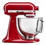 KitchenAid Artisan Mixer with Custom Hammered Bowl, Empire Red