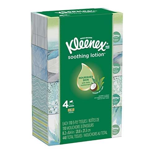 Kleenex Soothing Lotion Facial Tissues, 4 Flat Boxes, 110 Tissues Per Box
