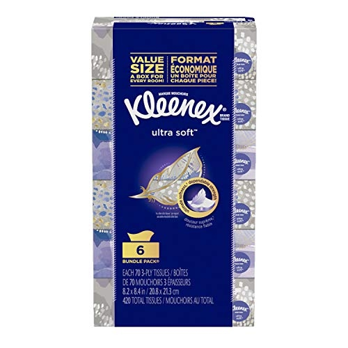 Kleenex Ultra Soft Facial Tissues, 6 Rectangular Boxes, 70 Tissues per Box