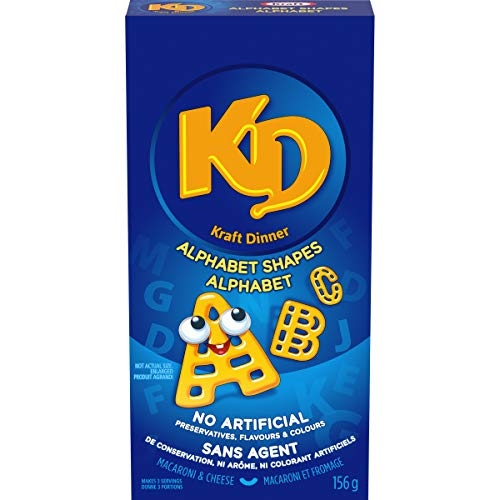 Kraft Dinner Alphabet Macaroni & Cheese Shapes, 156g (Pack of 12)