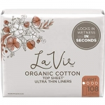 La Vie Organic Cotton Top Sheet Panty Liners, Ultra Thin, 108 Count
