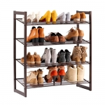 LANGRIA 4-Tier Metal Shoes Rack Stackable Shoe Organizer