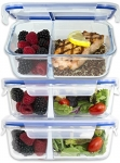 [Large Premium 3 Pack] 2 Compartment Glass Meal Prep Containers w/New Divider Seal Tech