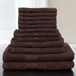 Lavish Home 12-Piece 100-Percent Cotton Towel Set, Chocolate