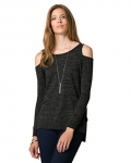Le Château Women's Cotton Blend Cold Shoulder Sweater