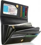 Access Denied RFID Leather Clutch Wallets for Women