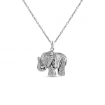 LeCalla Sterling Silver Jewelry Elephant Charm Pendant with Chain