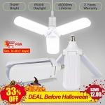 45W Garage Ceiling Light LED Foldable Fan Blade Bulb
