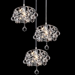 Lightess Chandelier Lighting Modern Flush Mount Light Fixtures 3-Light Hanging Crystal Ceiling Lights