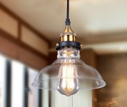 Lightess Glass Pendant Light Industrial Hanging Ceiling Lamp with Edison Bulb Fixtures and Glass Shade