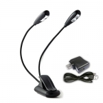 Lightess LED Book Light Portable and Rechargeable Music Stand Light Clip on USB Reading Lamp with 4 Levels Brightness