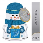 Lindt Lindor Christmas Snowman Wobble Tin Assorted Chocolate, 240g